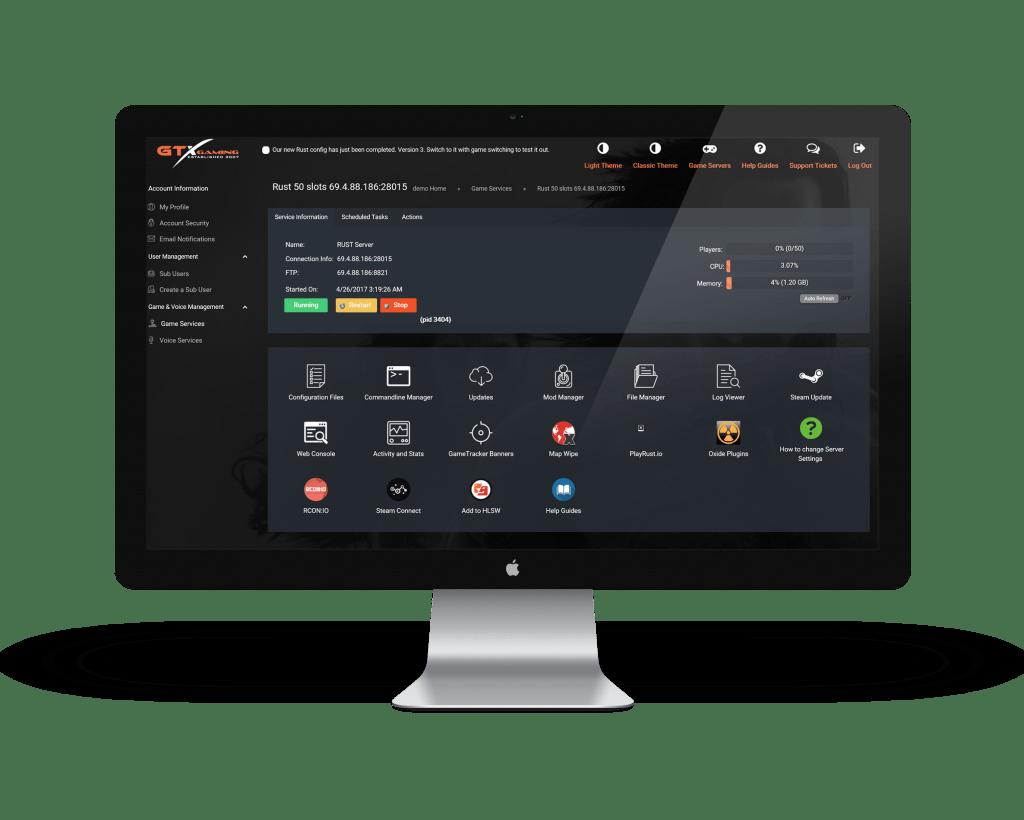 game server hosting control panel image
