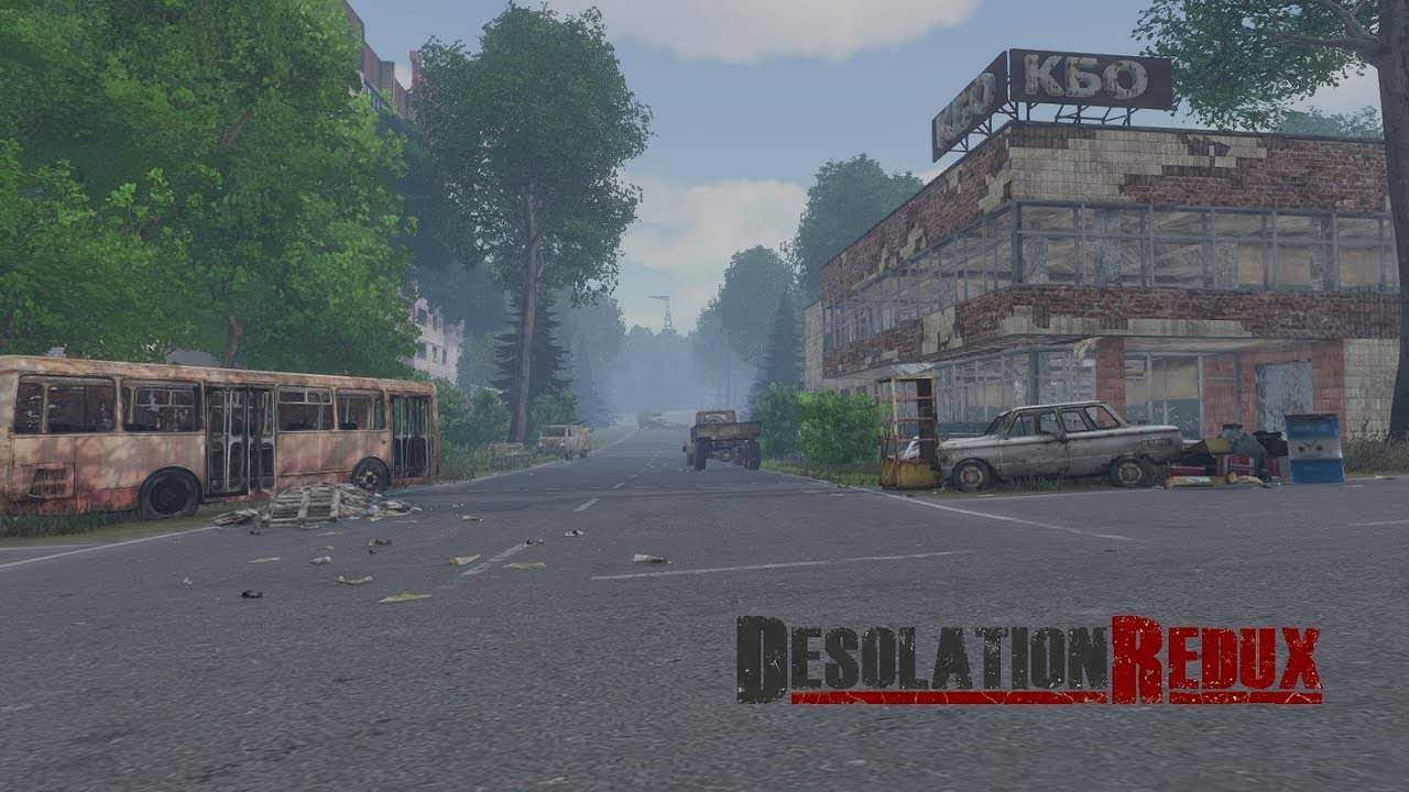 Arma3 Desolation Redux back ground image of a run down town