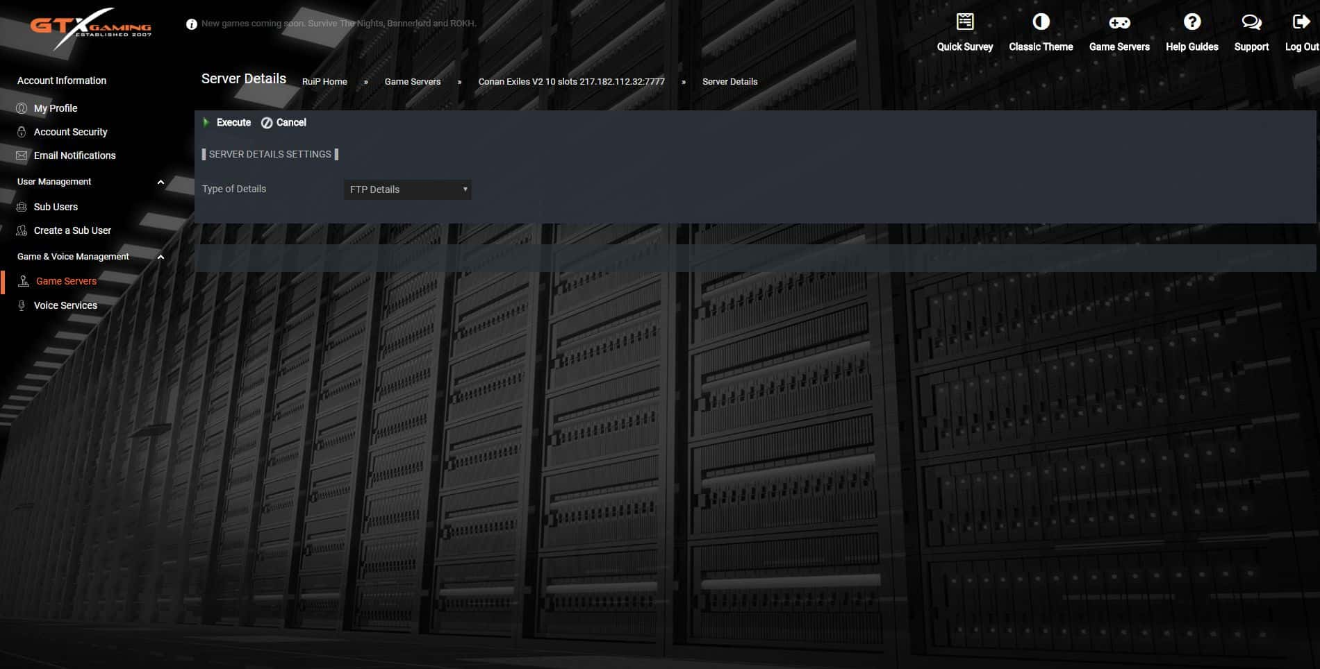 Quick Server Details