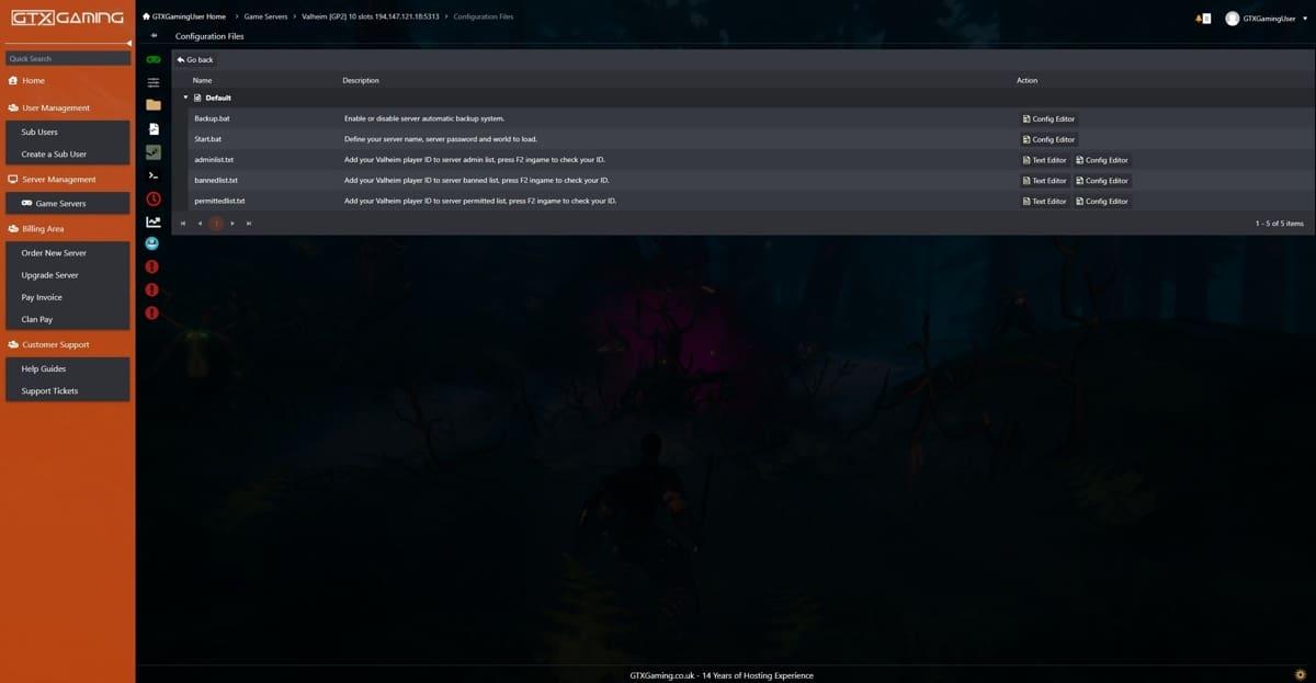 valheim server control panel screenshot 1